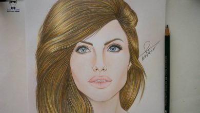 Photo of تعلم رسم الفنانة انجلينا جولي how to draw angelina jolie